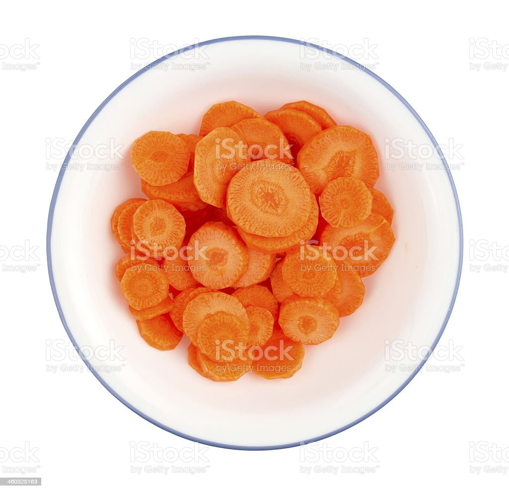 Sliced carrots in a bowl royalty-free stock photo