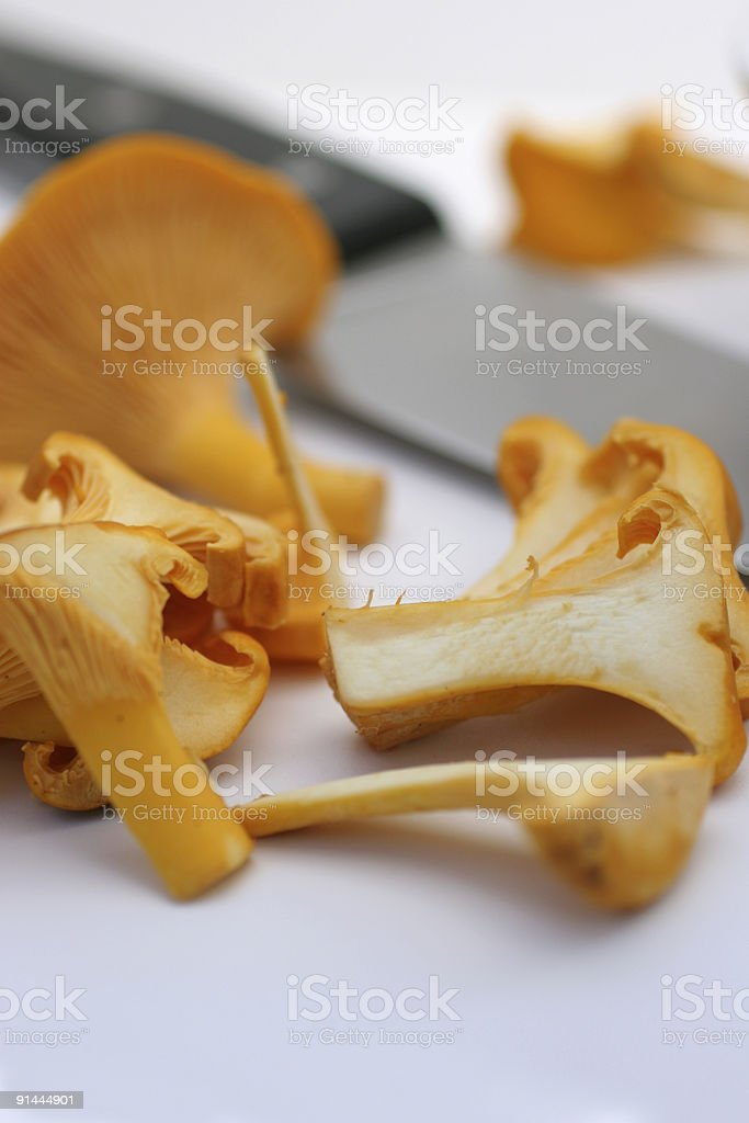 sliced chanterelles royalty-free stock photo