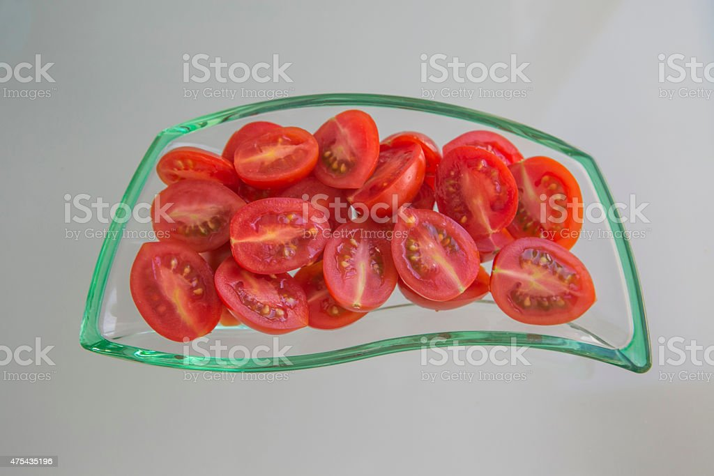 sliced cherry tomatoes in turkey stock photo