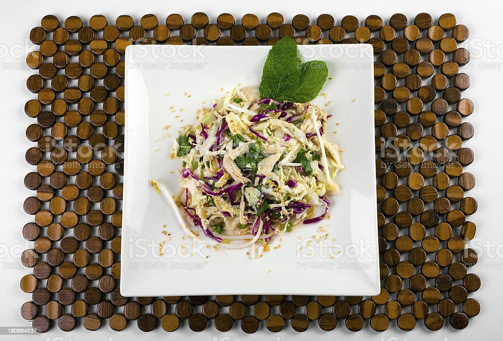 Sliced chicken with cabbage royalty-free stock photo