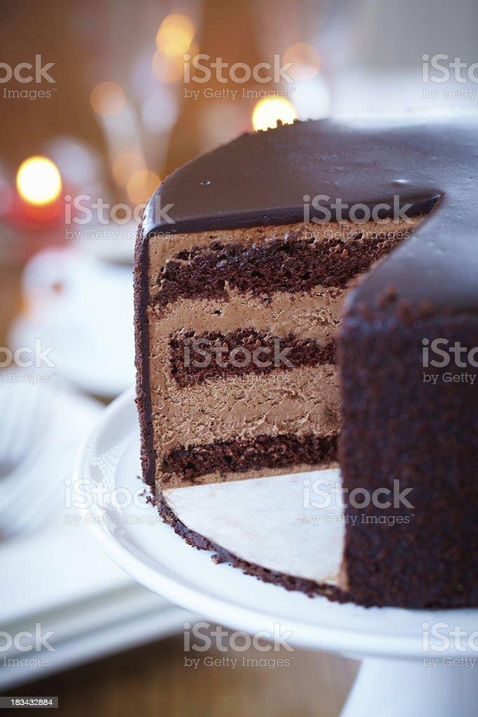 Sliced Chocolate cake stock photo