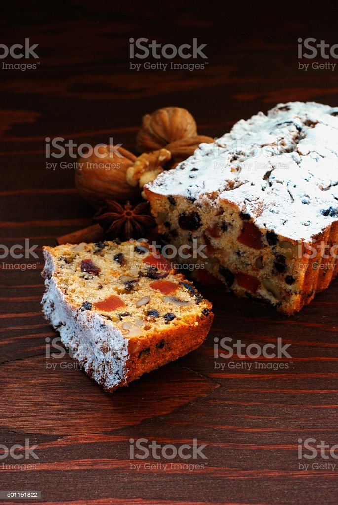 Sliced Christmas cake stock photo