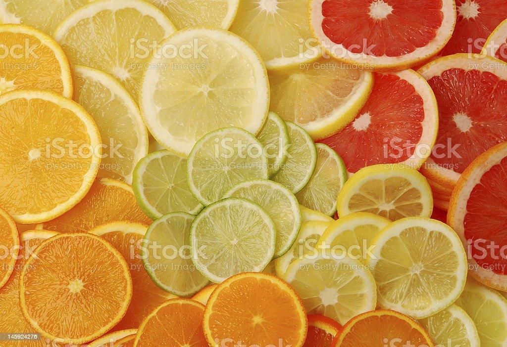 Sliced citrus fruits royalty-free stock photo
