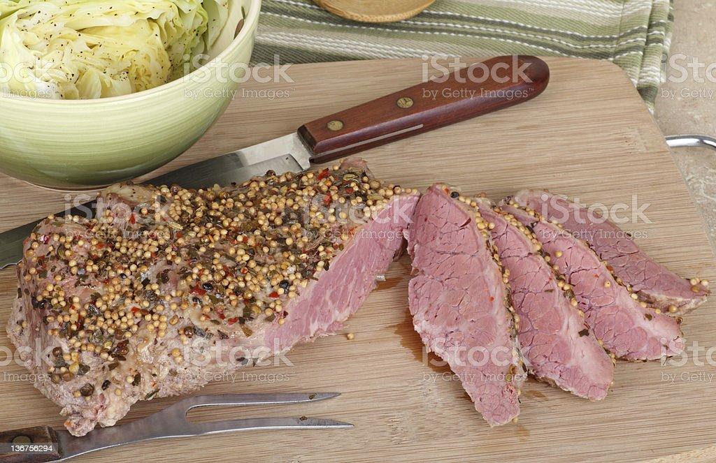 Sliced Corned Beef stock photo