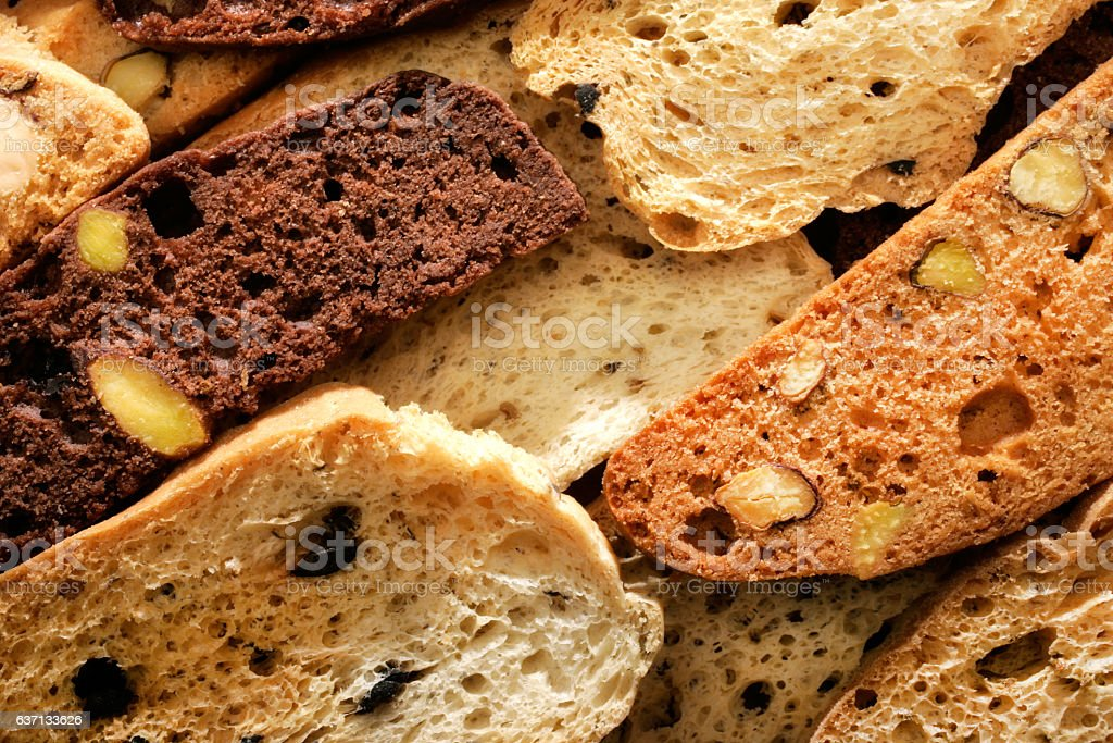 sliced crunchy sweet breads stock photo