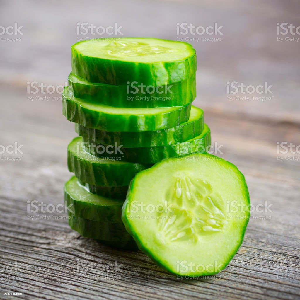 Sliced Cucumber in Stack stock photo