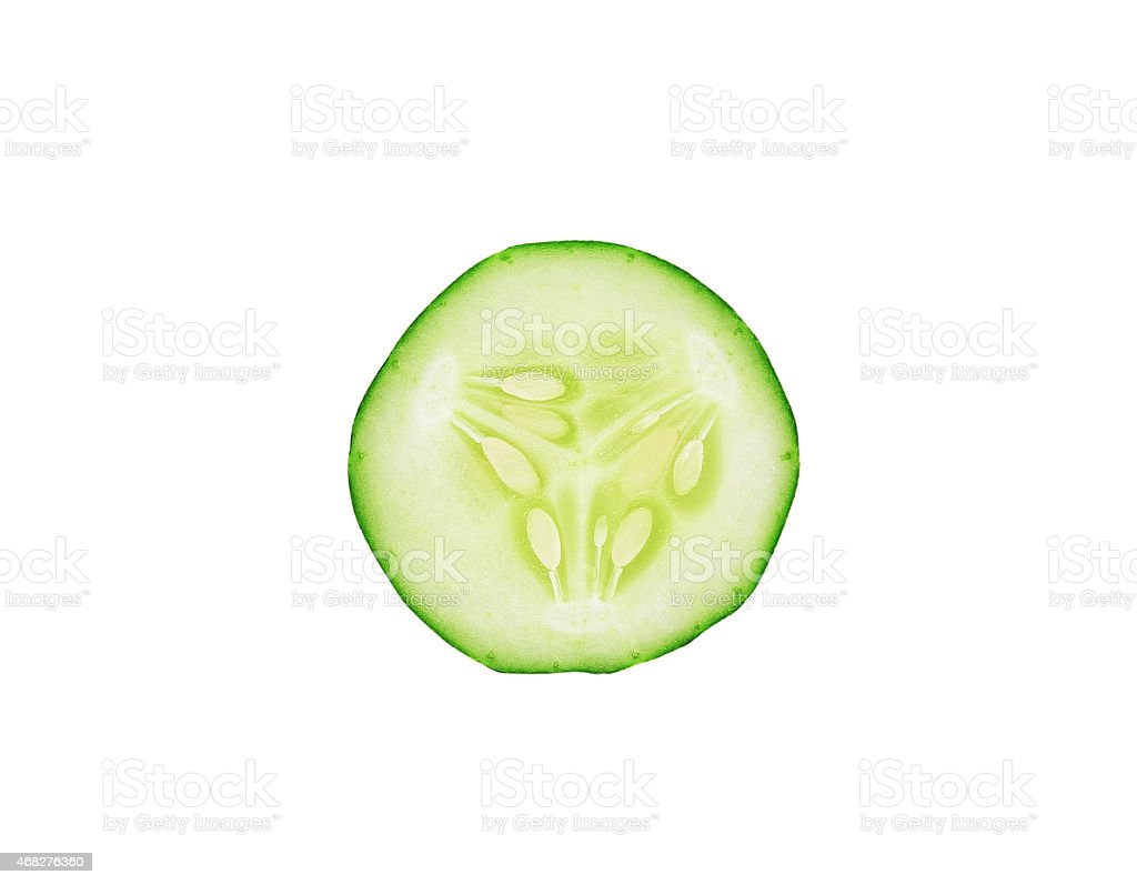 sliced cucumber isolated on white background stock photo