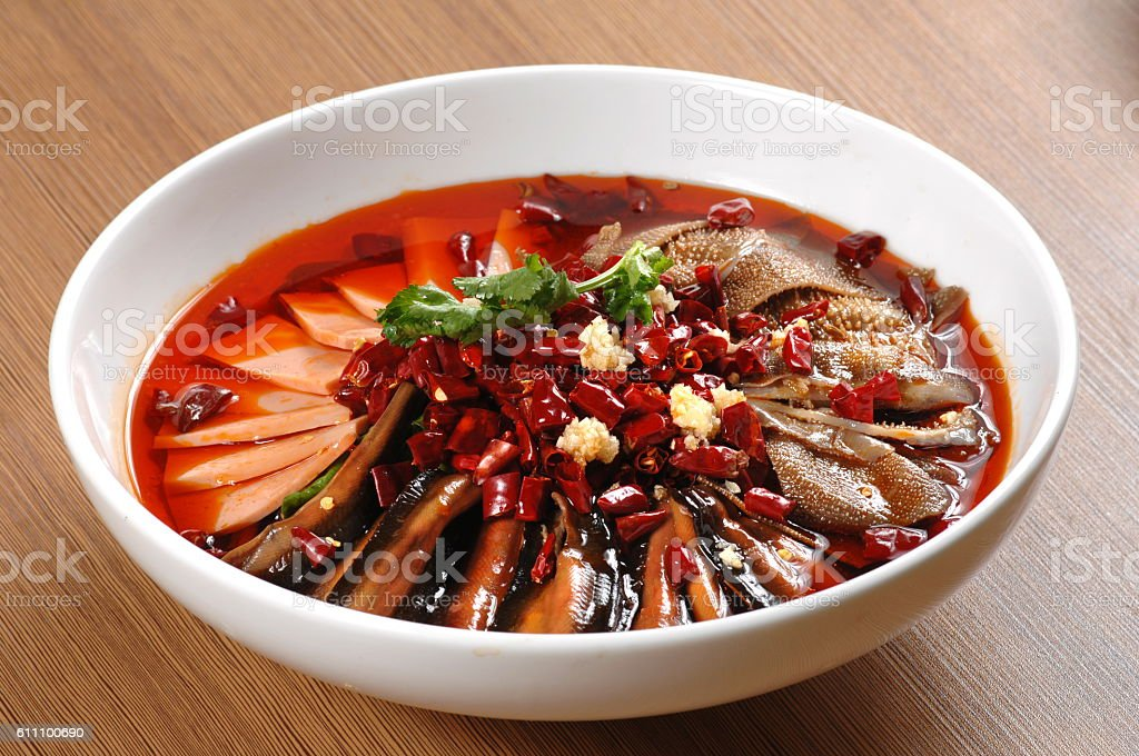 Sliced Duck Blood in Chili Sauce oil (毛血旺) stock photo