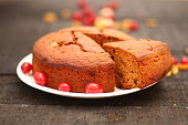 Sliced Fresh baked Homemade fruit cake