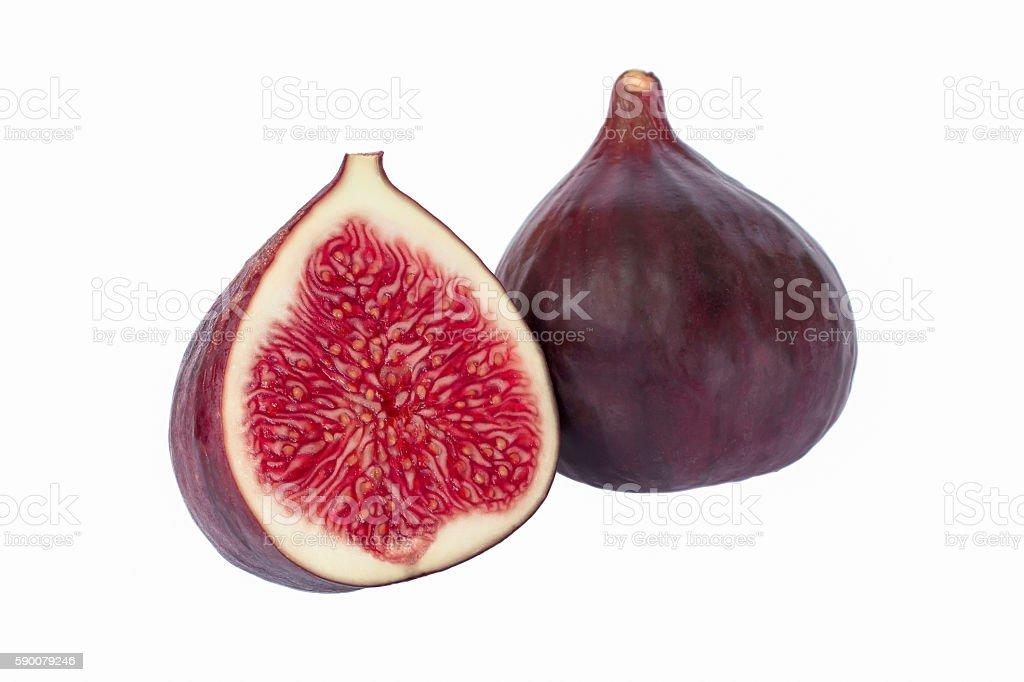 sliced fresh figs on white background stock photo