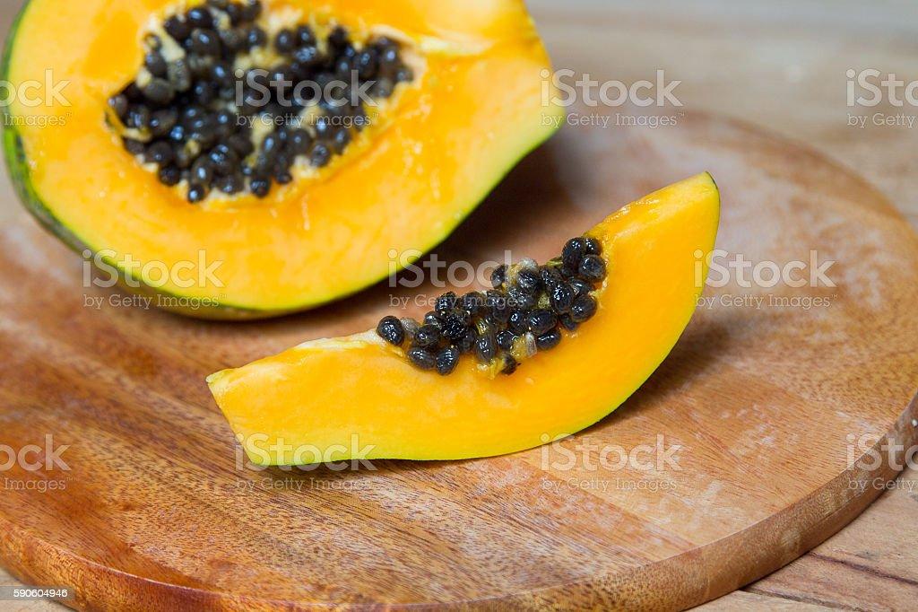 Sliced fresh papaya stock photo