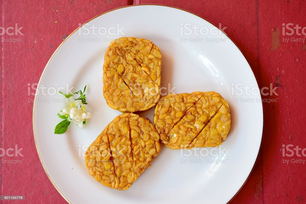 Sliced fried Tempeh stock photo