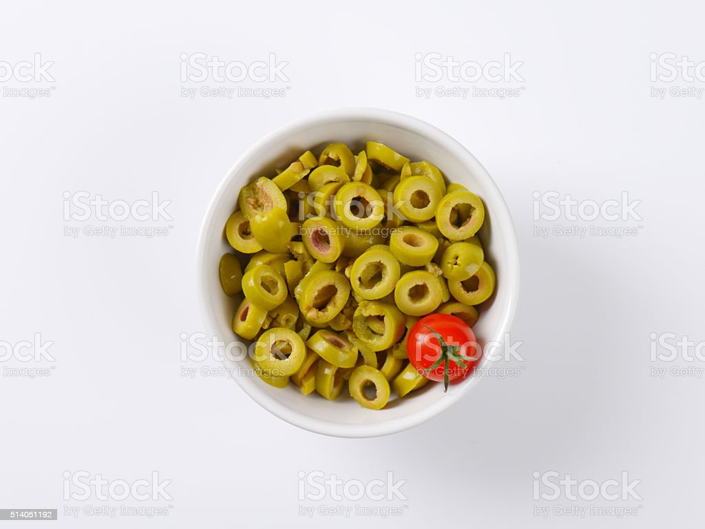 sliced green olives stock photo