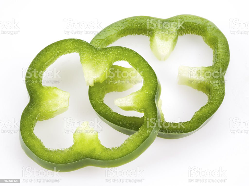 Sliced green pepper isolated on white stock photo
