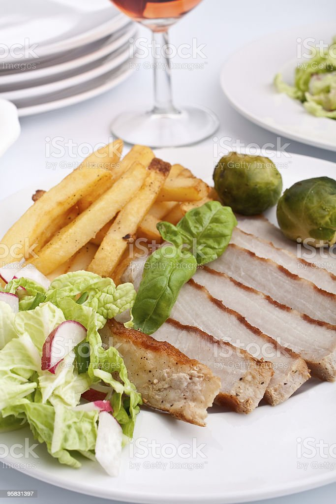sliced grilled pork  chops royalty-free stock photo