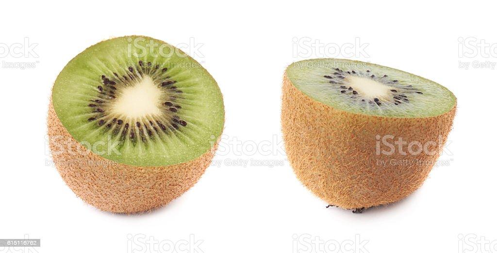 Sliced half of a kiwifruit isolated stock photo