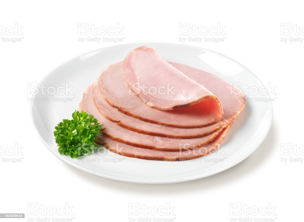 Sliced Ham on Plate stock photo