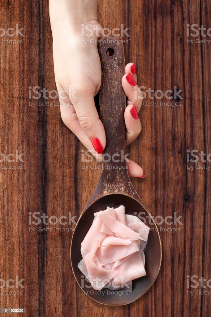 Sliced ham stock photo