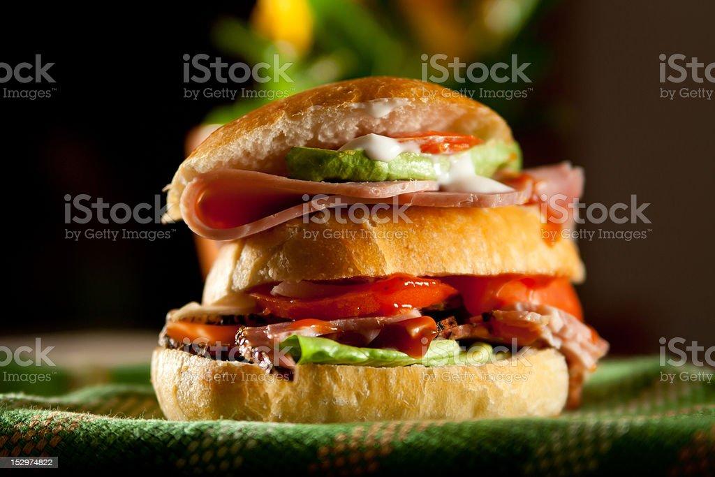 Sliced ham sandwich royalty-free stock photo