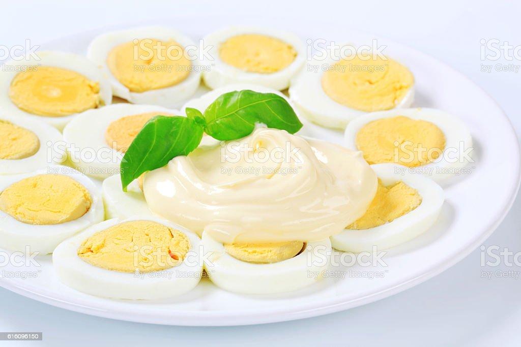 Sliced hardboiled egg stock photo