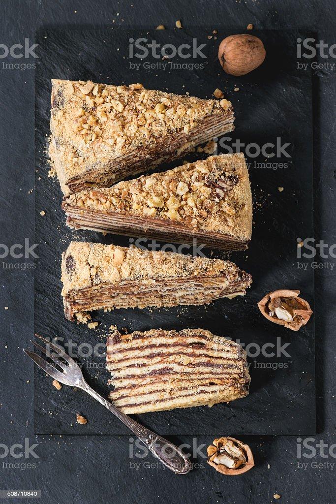 Sliced Homemade Honey Cake stock photo