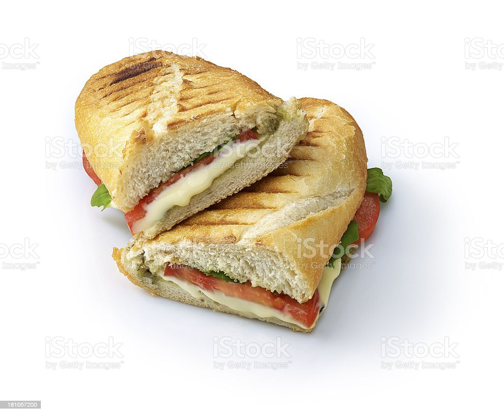 A Sliced in half grilled vegetable panini stock photo