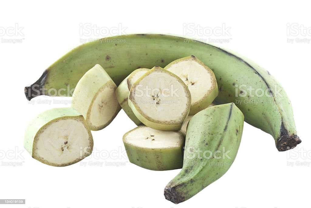 Sliced in the whole green plantains isolated on white stock photo