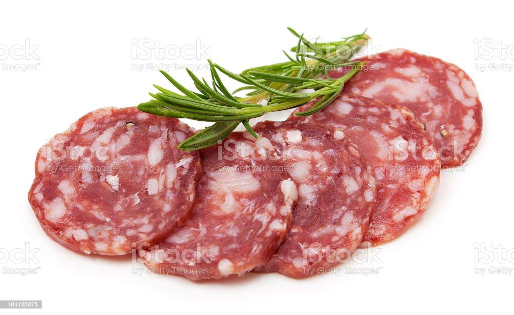 Sliced Italian salami stock photo