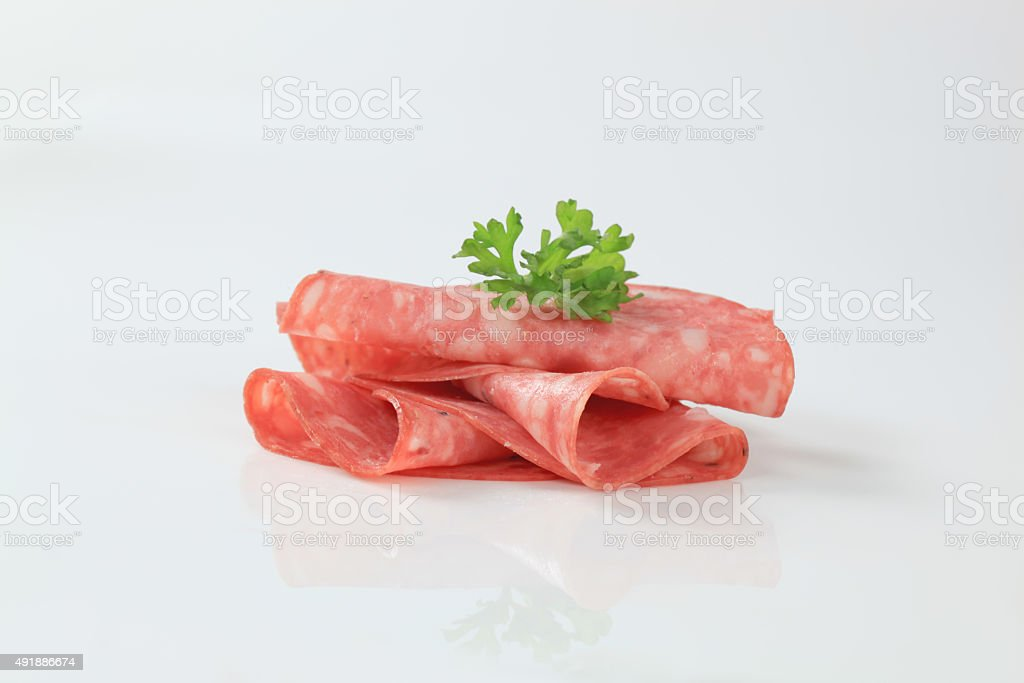 Sliced Italian salami stock photo