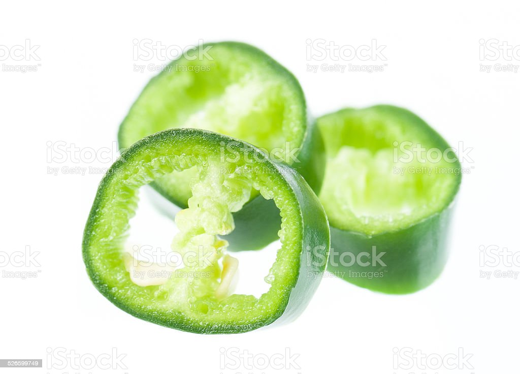 sliced Jalapeno Peppers isolated stock photo