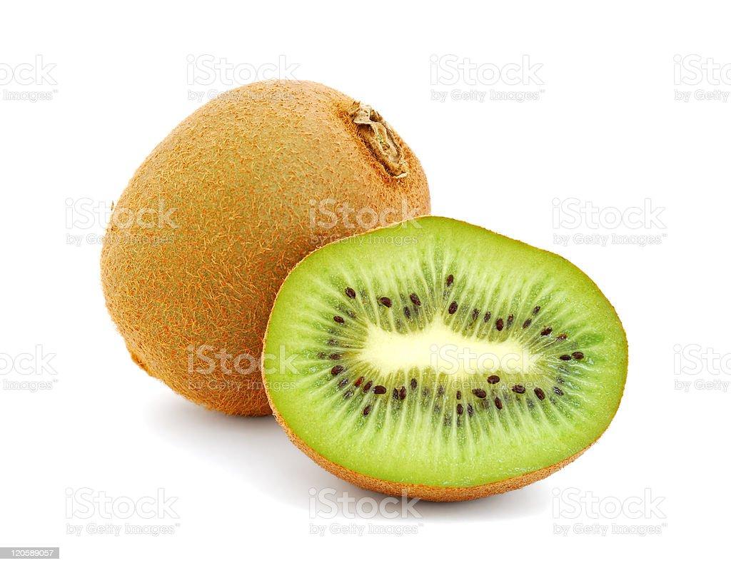 Sliced kiwi fruit on a white background stock photo
