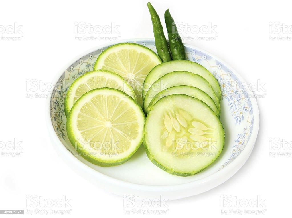 Tranches de citron vert concombre avec des enseignes Chili's & photo libre de droits