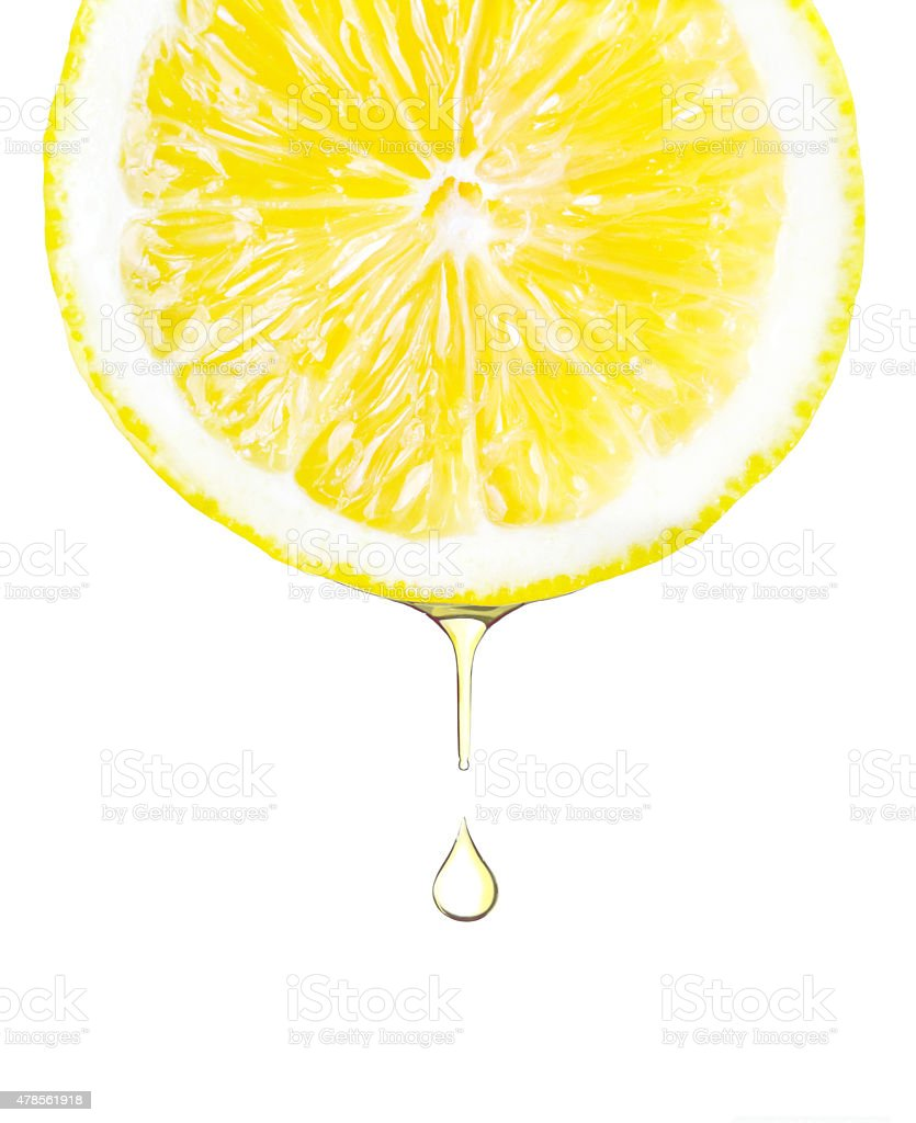 Sliced lemon with juice dropping. Isolated on white stock photo