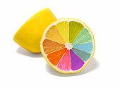 Sliced lemon with rainbow colors inside