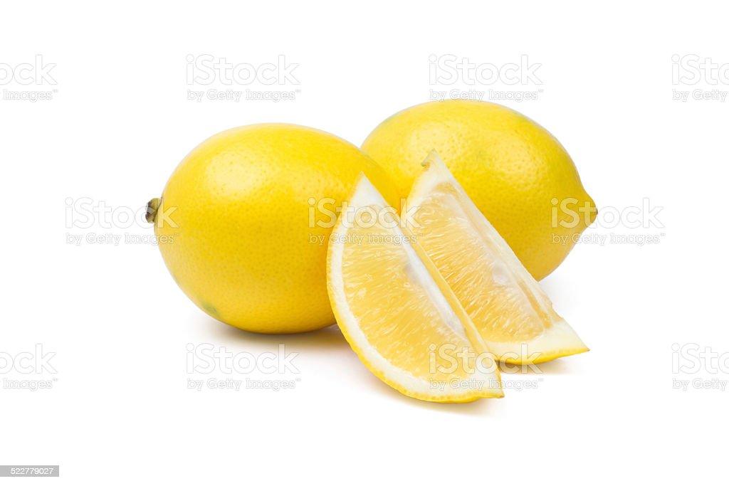 Sliced Lemons On White Background stock photo