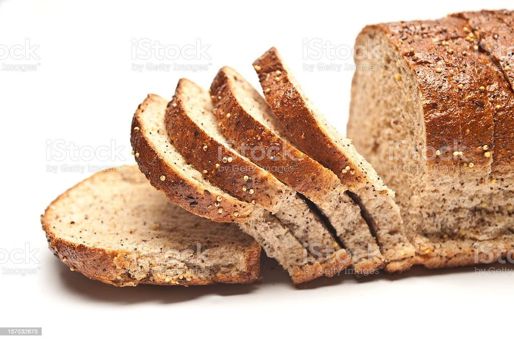 Sliced Loaf of Seeded Brown Bread royalty-free stock photo