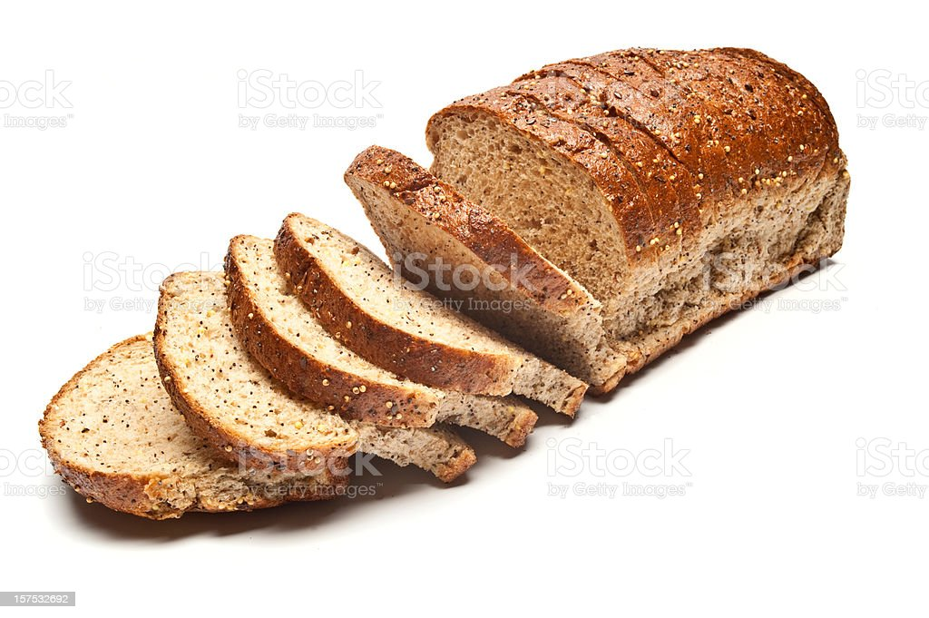 Sliced Loaf of Seeded Brown Bread stock photo