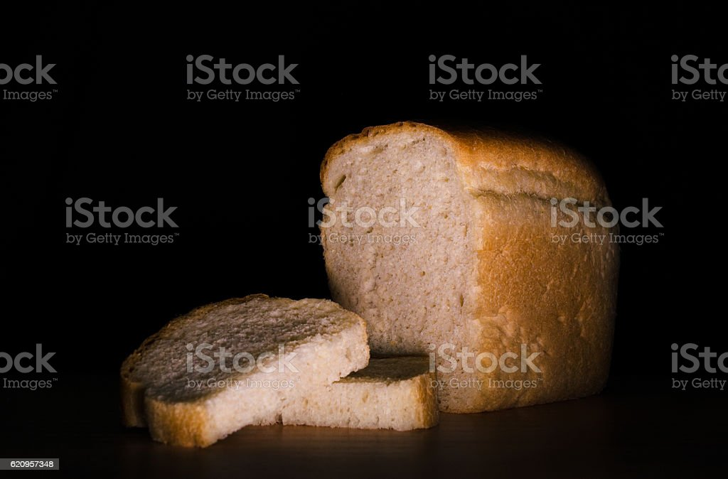 Sliced loaf of white bread stock photo