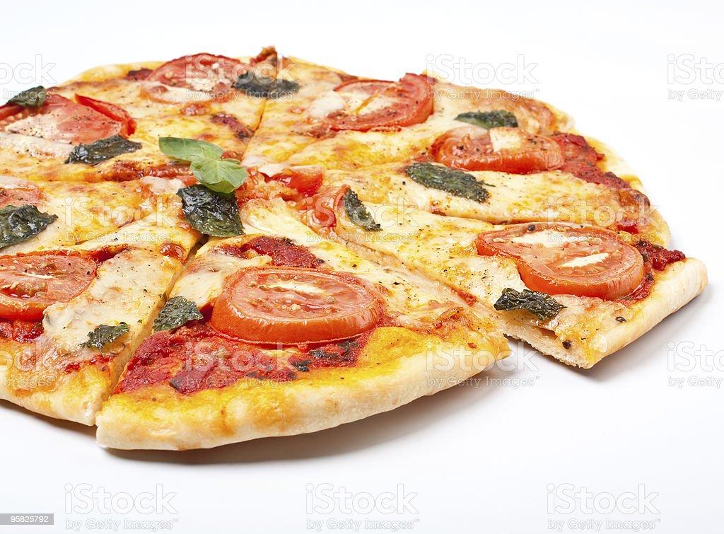 sliced margerita pizza royalty-free stock photo