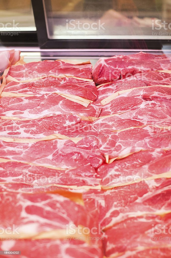 Sliced meat in the supermarket royalty-free stock photo