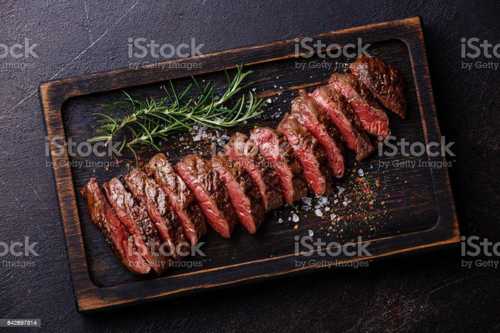 Sliced meat steak Machete stock photo