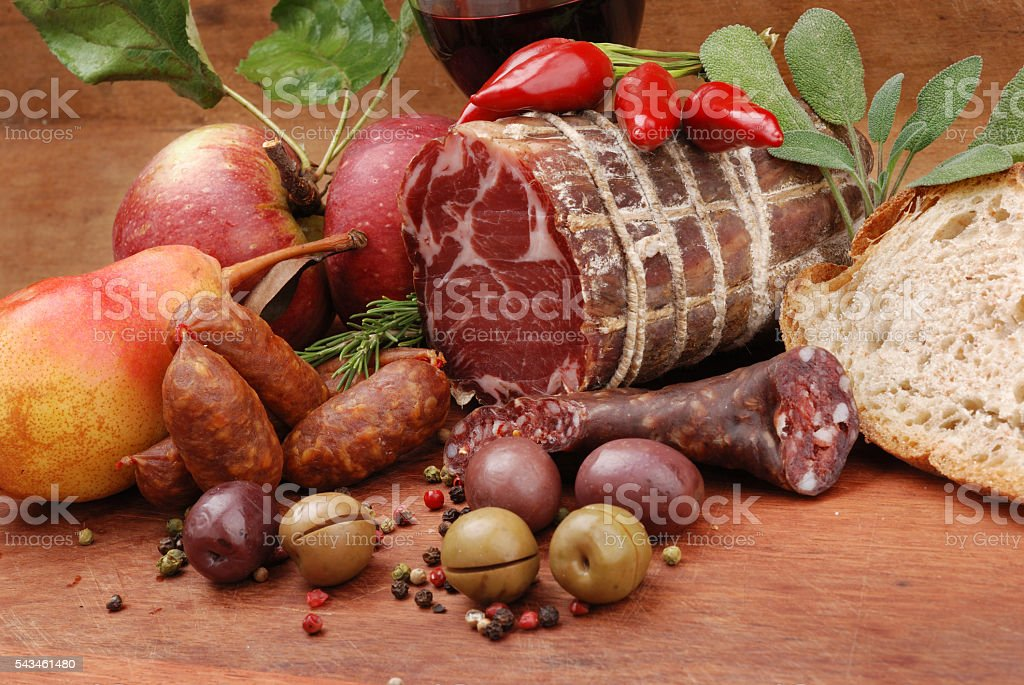 Sliced meat stuffed stock photo