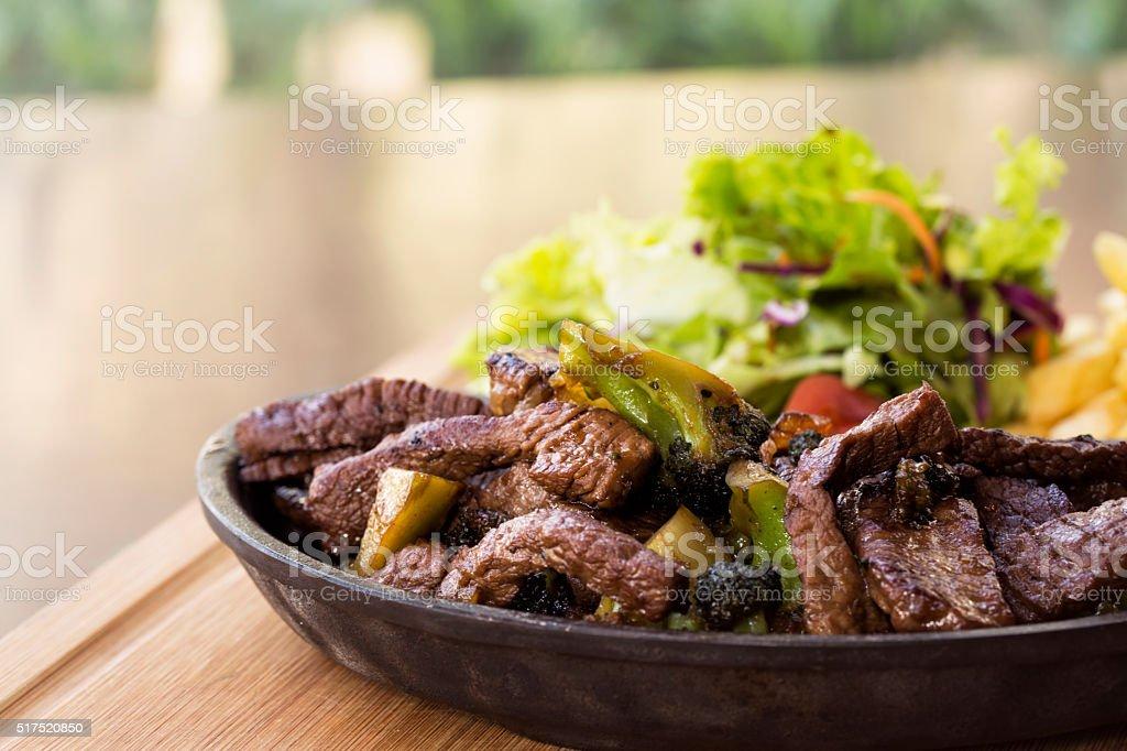 Sliced medium grilled steak Ribeye stock photo