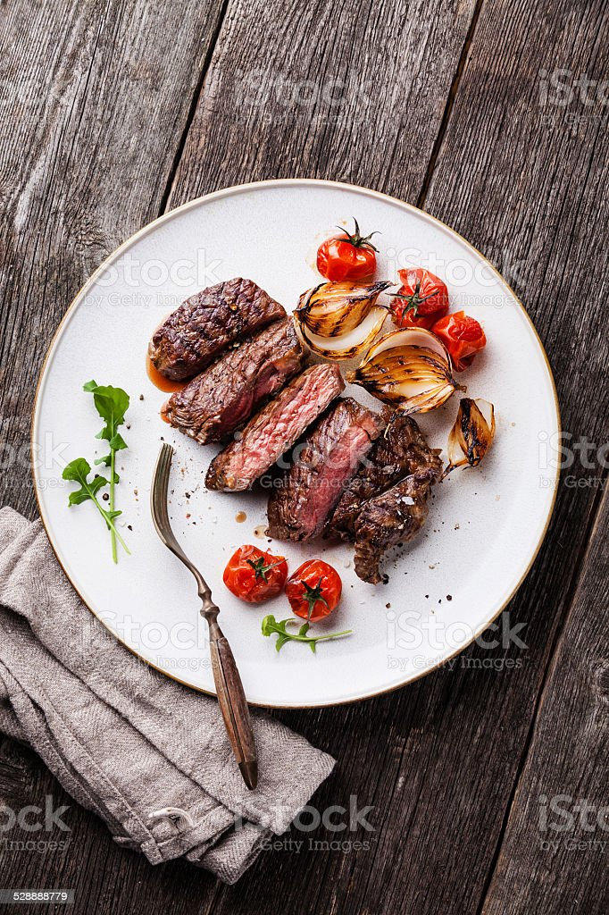 Sliced medium rare grilled Beef steak stock photo