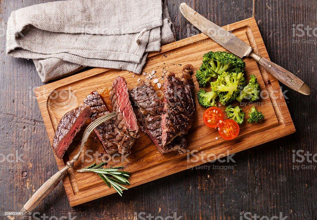 Sliced medium rare steak Ribeye stock photo