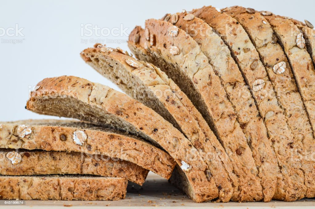 Sliced Multi-Grain Bread closeup stock photo