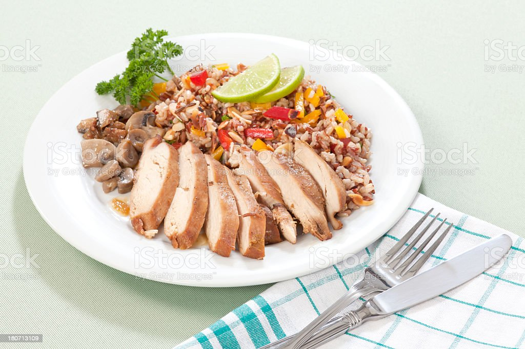 Sliced of chicken with colored rice royalty-free stock photo