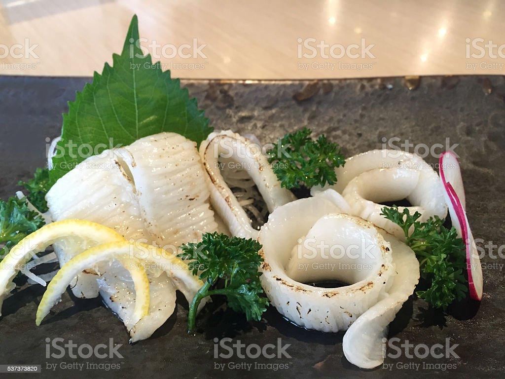 Sliced of fish fins (Engawa Sashimi - Japanese food) stock photo