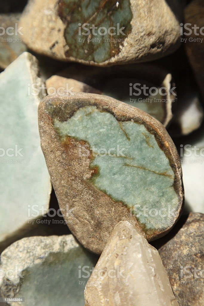 sliced of jade stone stock photo