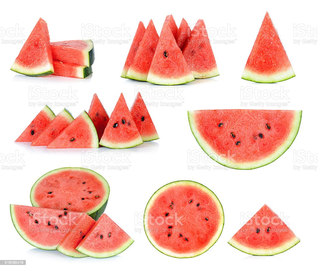 Sliced of watermelon isolated on the white stock photo